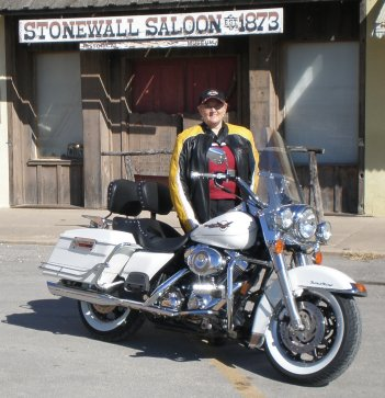 photo of angie in texas and her road king