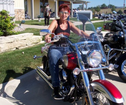 shirley on her yamaha v star