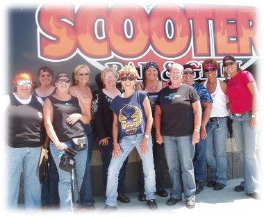 group posing at scooter's in anamosa