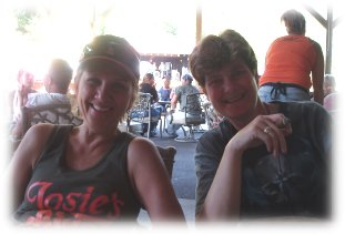 susan and michelle at poopys biker bar