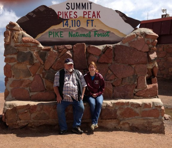 At the summit of Pike's Peak! No one's feeling especially well at this point.
