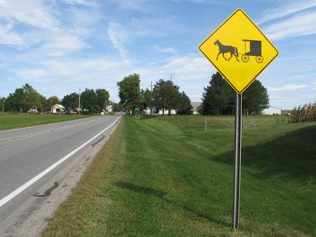 Caution: Amish vehicles on this road. Also, horse poop. Photo borrowed from spokesrider.com.