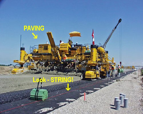 Evidence that string is used in road paving projects! Image courtesy rocktoroad.com, where they would not lie about such things.