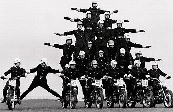 Human Motorcycle pyramid | Biker Chick News