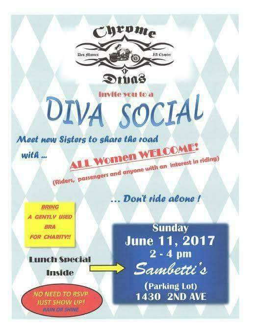 Chrome Divas of Des Moines social event June 11