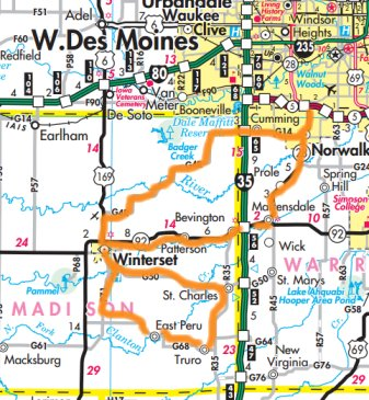 Madison County Loop map | Biker Chick News